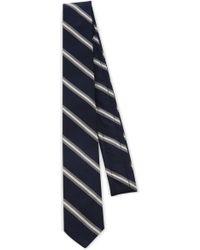 Thom Browne - Narrow Stripe Silk-cotton Tie - Lyst
