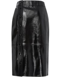 Givenchy - Button-detailed Patent-leather Midi Skirt - Lyst