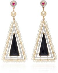 Hanut Singh - One-of-a-kind Black Onyx Architectural Earrings With Pearls - Lyst