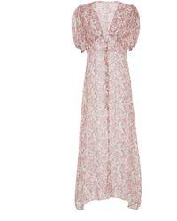LoveShackFancy - Delaney Floral Silk Pleated Midi Dress - Lyst