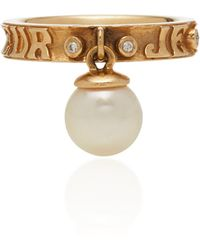 Marlo Laz - Dancing Pearl 14k Gold, Diamond And Pearl Ring - Lyst