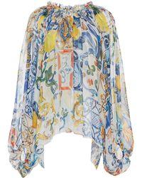Dolce & Gabbana - Maiolica Printed Long Sleeve Blouse - Lyst