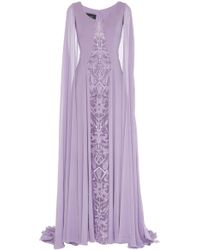 Georges Hobeika - Draped Sleeves And Cape Dress - Lyst