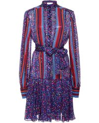 Carolina Herrera - Drop Waist Dress With Sequin Panels And Belt - Lyst