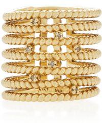 Nancy Newberg - Yellow Gold Twist Bar Ring With Diamonds - Lyst