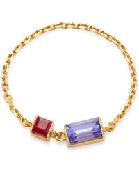 Yi Collection - 18k Gold Tanzanite And Ruby Chain Ring - Lyst