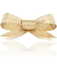 Rodarte - Gold Large Ribbed Bow Barrette - Lyst