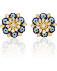 Amrapali - 18k And 22k Gold, Enamel And Diamond Earrings - Lyst