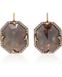 Sylva & Cie - 14k Rose Gold And Diamond Earrings - Lyst