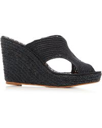 Carrie Forbes - Lina Raffia Wedge Slides - Lyst
