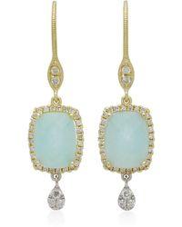 Meira T | Infinity 14k Gold, Amazonite And Diamond Earrings | Lyst
