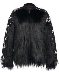 Giambattista Valli - Floral Embroidered Faux Fur Coat - Lyst