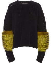 Sally Lapointe | Fur-sleeve Knit Cashmere Sweater | Lyst
