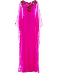 Reem Acra - Beaded Embellishment Caftan - Lyst