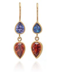 Mallary Marks - Bon Bon 18k Gold, Sapphire And Garnet Earrings - Lyst