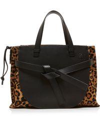 Loewe - Gate Leopard Print Leather Tote - Lyst