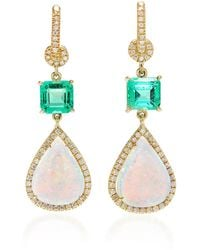 Nina Runsdorf - M'o Exclusive: One-of-a-kind White Opal With Emerald Earrings - Lyst