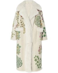 Oscar de la Renta - Ivory Dyed Lamb Shearling Coat - Lyst