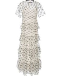 RED Valentino - Polka-dot Tiered Flocked Tulle Maxi Dress - Lyst