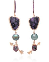 Daniela Villegas - 18k Rose Gold Multi-stone Earrings - Lyst