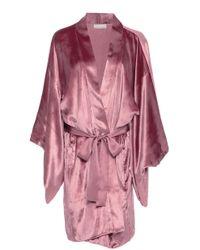 Fleur du Mal - Silk-trimmed Velvet Robe - Lyst