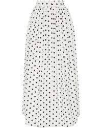 MDS Stripes - Exclusive Button-front Cotton Midi Skirt - Lyst