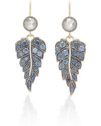 Sylva & Cie - Sapphire & Diamond Leaf Earrings - Lyst