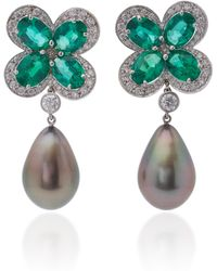 Goshwara - Platinum, Pearl, Emerald And Diamond Earrings - Lyst