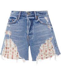 GRLFRND - Jourdan Distressed Exposed Stripe Pocket Short - Lyst