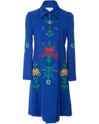 Carolina Herrera - Double Breasted Embroidered Coat - Lyst