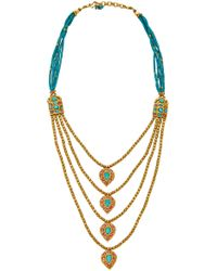 Amrapali - One-of-a-kind Ruby And Turquoise Layer Gold Necklace - Lyst