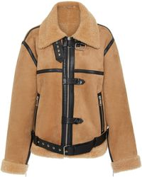 Victoria, Victoria Beckham - Leather-trimmed Shearling Coat - Lyst
