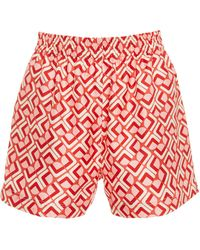 LaDoubleJ - Boxer High-rise Printed Silk Shorts - Lyst