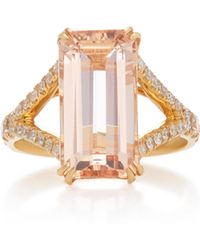 Yi Collection - 18k Gold, Morganite And Diamond Crown Ring - Lyst
