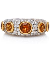 Gioia - 18k Gold, Citrine And Diamond Ring - Lyst