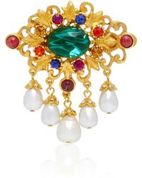Ben-Amun | Gold-plated Brass, Faux Pearl And Crystal Brooch | Lyst