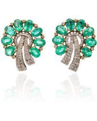Sanjay Kasliwal - 18k Gold, Emerald And Diamond Earrings - Lyst