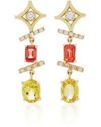 Jordan Alexander - 18k Gold, Diamond And Yellow Beryl Earrings - Lyst
