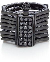 Lynn Ban - Reverso Rhodium And Black Diamond Convertible Ring - Lyst