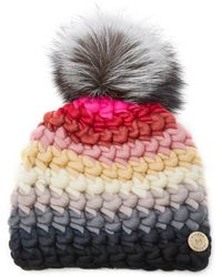Mischa Lampert - Exclusive Fur-topped Striped Wool Beanie - Lyst