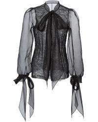 Marchesa - Blush Silk Organza Blouse - Lyst
