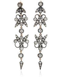 Montse Esteve - Triple-tiered Oxidized Silver And Diamond Earrings - Lyst