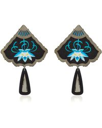 Anna E Alex - Silver And Black Rhodium-plated Embroidered Resin Earrings - Lyst