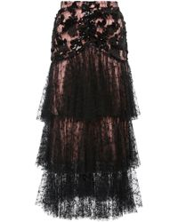 Rodarte - Sequin And Floral Tulle Skirt - Lyst