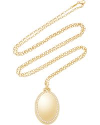 "Monica Rich Kosann - M'onogrammable 18k Yellow Gold And Diamond ""premier"" Four Image Locket On 32"" Chain - Lyst"