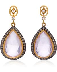 Sara Weinstock - 18k Gold, Rose Quartz And Diamond Earrings - Lyst