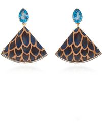Silvia Furmanovich - 18k Gold, Enamel Blue Topaz And Diamond Earrings - Lyst