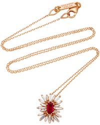 Suzanne Kalan - One-of-a-kind 18k Rose Gold Ruby And Diamond Necklace - Lyst