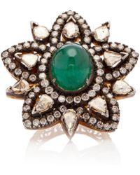 Amrapali - 14k Gold, Emerald And Diamond Ring - Lyst