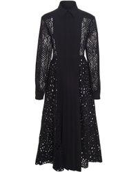 J. Mendel - Collared Lace Midi Dress - Lyst